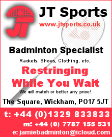 Advert - JT Sports, Badminton Specialist, Wickham